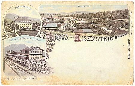 Pohlednice s Alžbětínem a nádražím, odkud je vidět Javor