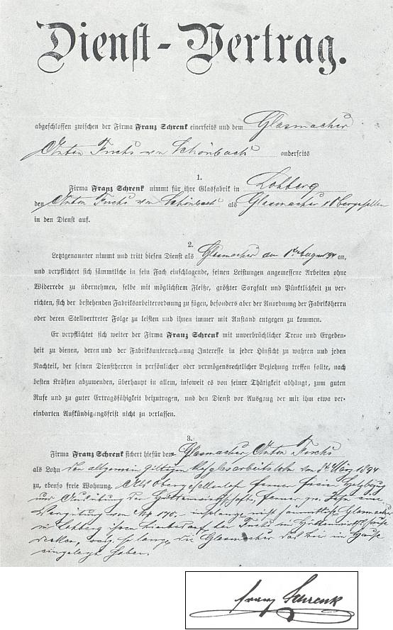 """""""Služební smlouva"""" jednoho ze sklářů firmy Franz Schrenk a podpis jejího majitele"""