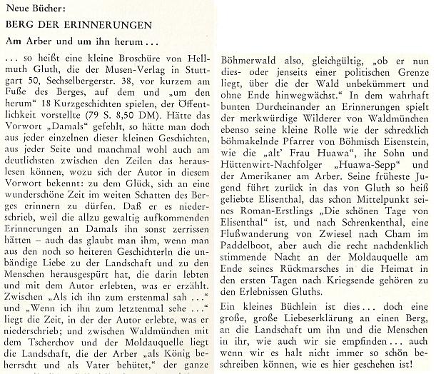 Recenze jeho knihy Berg der Erinnerungen v krajanském měsíčníku