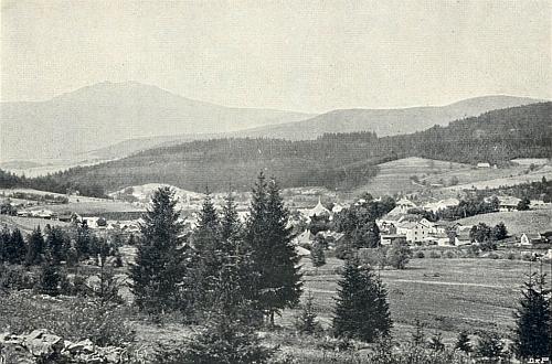Železná Ruda s Javorem na pohlednici Josefa Seidela
