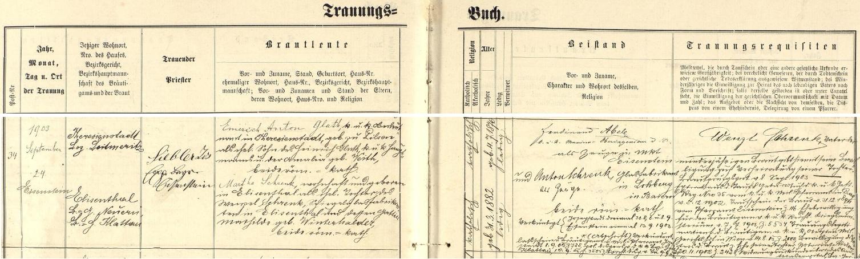 """Záznam železnorudské oddací matriky o zdejší svatbě jeho rodičů dne 24. září roku 1903 - ženich Emerich Anton Gluth, c.k. nadporučík (v originále """"k.k. Oberleutnant"""") v Terezíně (Theresienstadt), narozený v Plzni 4. července 1876, byl synem c.k. setníka (v originále k.k. Hauptmann) Heinricha Glutha a jeho ženy Amalie, roz. Veithové, nevěsta Martha Schrenková, narozená 31. března 1882 v Alžbětíně, byla dcerou zdejšího výrobce zrcadlového skla Wenzela Schrenka a jeho ženy Mathildy, roz. Winterhalderové - svatebními svědky byli c.k. námořní inženýr Ferdinand Abele a majitel sklárny v bavorském Lohbergu Anton Schrenk, zde i podepsaní spolu s s nevěstiným otcem Wenzelem Schrenkem, který tímto svým podpisem vyjadřuje souhlas se sňatkem své """"nezletilé"""" dcery (zletilá by byla až ve svých 24 letech, tj. roku 1906)"""