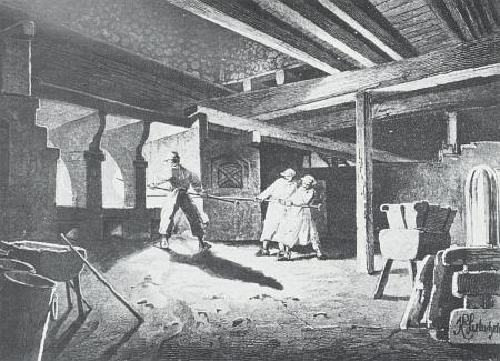 Práce ve Schrenkově sklářské huti v Alžbětíně na ilustraci Karla Liebschera z roku 1881