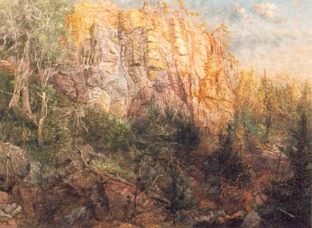 Vintířovy skály na obraze Miroslava Houště z roku 1999