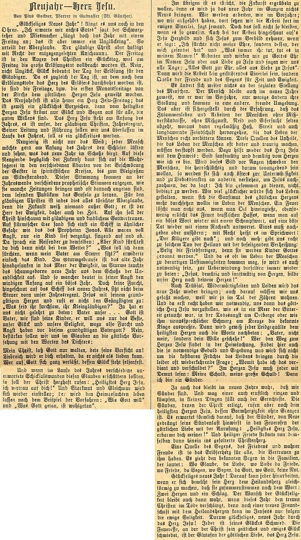 Jeho text v německém církevním listě českobudějovického biskupství o křesťanském pojetí Nového roku jako svátku Nejsvětějšího srdce Páně