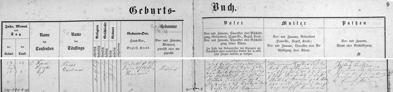 Narodil se podle matričního záznamu farní obce Ktiš dne 14. července 1879 (a téhož dne byl v Ktiši i pokřtěn) v Mackově Lhotě čp. 1 tamnímu rolníku Josefu Gocknerovi (synu Adalberta Gocknera, hospodařícímu kdysi na téže usedlosti, a jeho manželky Theresie, roz. Jakeschové,  z Brloha čp. 59) a jeho ženě Marianně, dceři Jakoba Miesbauera ze Zbytin čp. 42, panství Prachatice, a jeho manželky Marie, roz. Scheiberové, ze Šenavy (dnes Pěkná) čp. 12