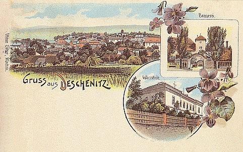 """Pozdrav z Dešenic se """"zahradními motivy"""" na pohlednici z r. 1899"""