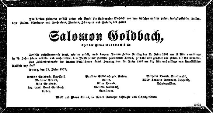 I její jméno najdeme na úmrtním oznámení dědečkově v Prager Tagblatt z února roku 1907