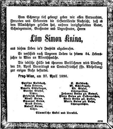 Praděd, jehož dcerou byla její babička Pauline Goldbachová, zemřel podle toho úmrtního oznámení v listu Prager Tagblatt ve Vídni roku 1896 a byl tam pochován na židovském oddělení ústředního hřbitova