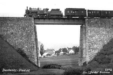 Dešenický viadukt na pohlednici firmy Josef Seidel