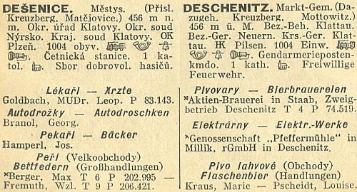 V Dešenicích byl kdysi MUDr. Goldbach prvou adresou