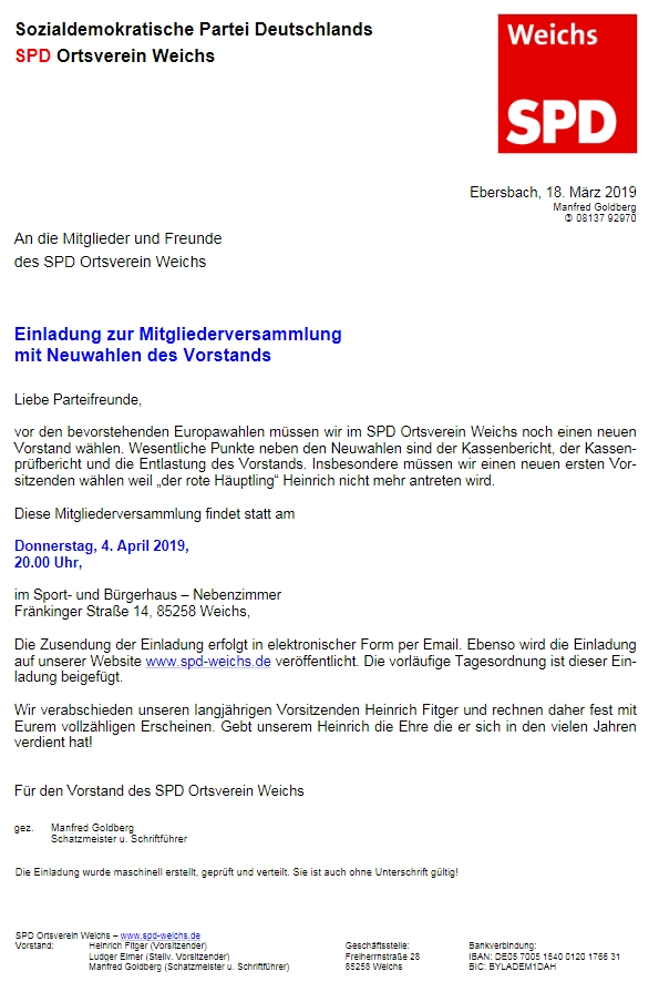 O jeho působení v místním srdužení SPD vypovídá tento dokument