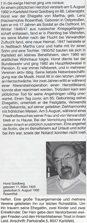 Nekrolog jeho otce v krajanském časopise