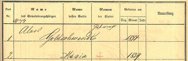 Záznam v matrice domovských příslušníků Nových Hradů s chybou v roce narození manželky