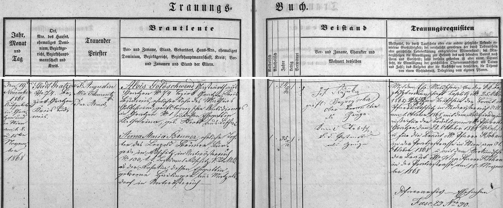 Záznam o jeho první svatbě v novohradské knize oddaných