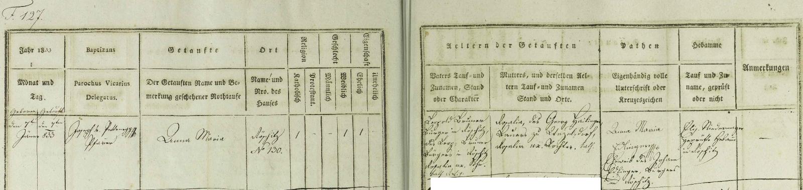 Záznam dolnorakouské matriky o narození jeho první ženy Anny Marie dne 7. ledna roku 1833 v městysi Röschitz ve vídeňské arcidiecézi