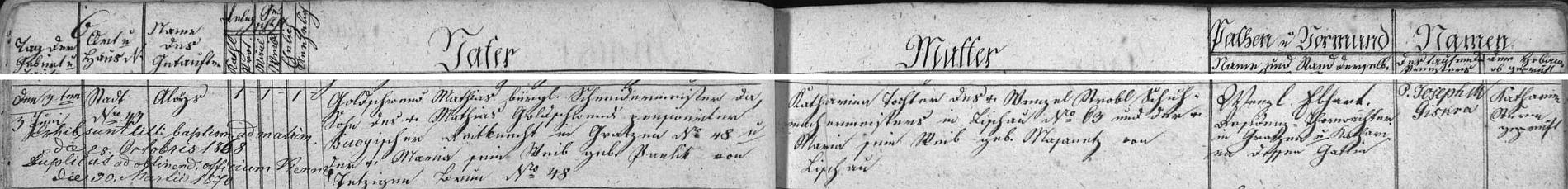 Záznam o jeho narození v novohradské křestní matrice