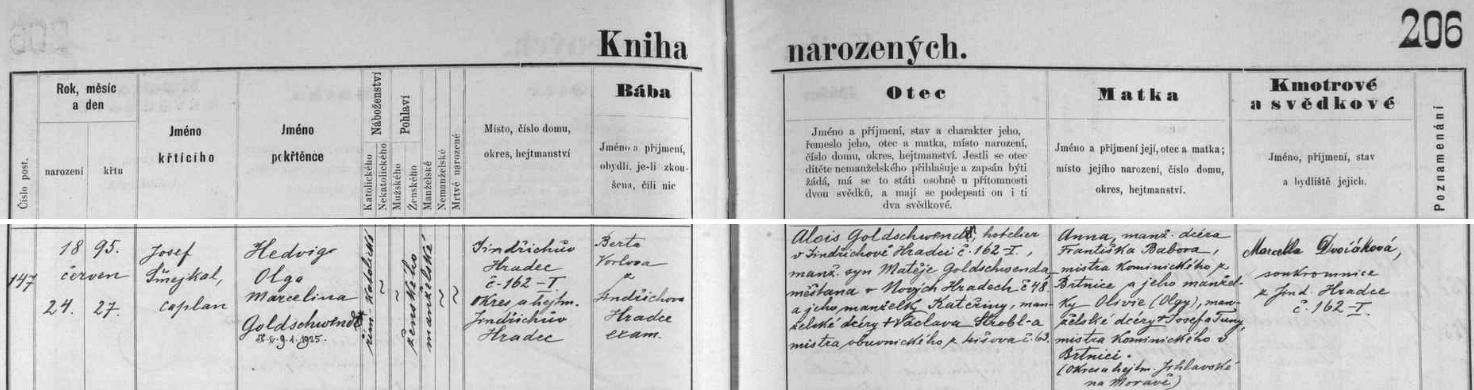 Záznam jindřichohradecké křestní matriky o narození jeho dcery Hedwig
