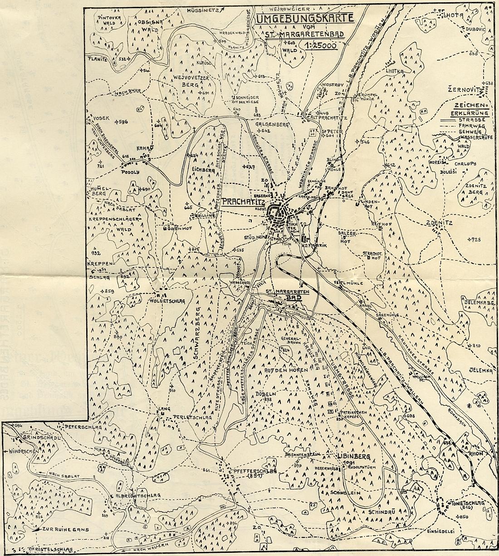 Mapa okolí lázní z průvodce vydaného ve dvacátých letech minulého století knihtiskárnou W.J. Schramm vPrachaticích