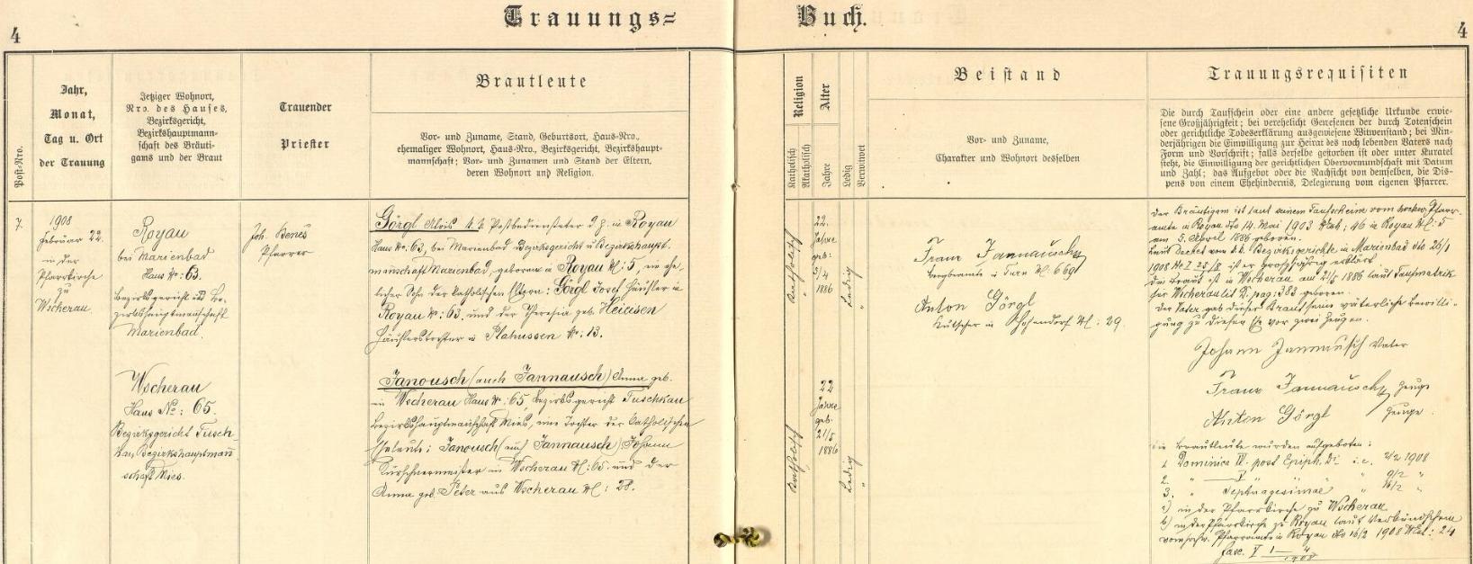 Záznam o svatbě jeho rodičů ve Všerubech u Plzně, z něhož vyplývá, že otec Alois Görgl (*5. dubna 1886) byl synem domkáře Josefa Görgla v Rájově u Mariánských Lázní a Theresie, roz. Heieisen z Blahoust, matka Anna (*21. května 1886) byla pak dcerou Johanna Janousche, kožišnického mistra ve Všerubech u Plzně, a Anny, roz. Peterové rovněž ze Všerub u Plzně