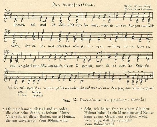 Notový záznam písně s jeho textem