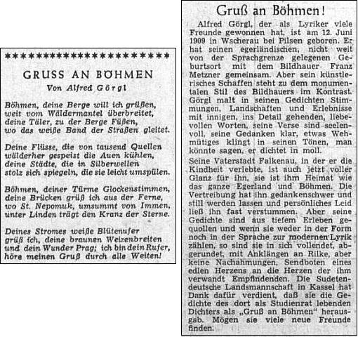 Báseň Pozdrav Čechám a medailon jejího autora, přirovnávaného tu k Rilkeovi, ve slavnostním čísle ústředního listu vyhnaných krajanů k Sudetoněmeckému sněmu roku 1955