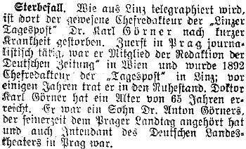 Také Prager Tagblatt, list, v němž kdysi působil, věnoval jeho úmrtí tento odstavec