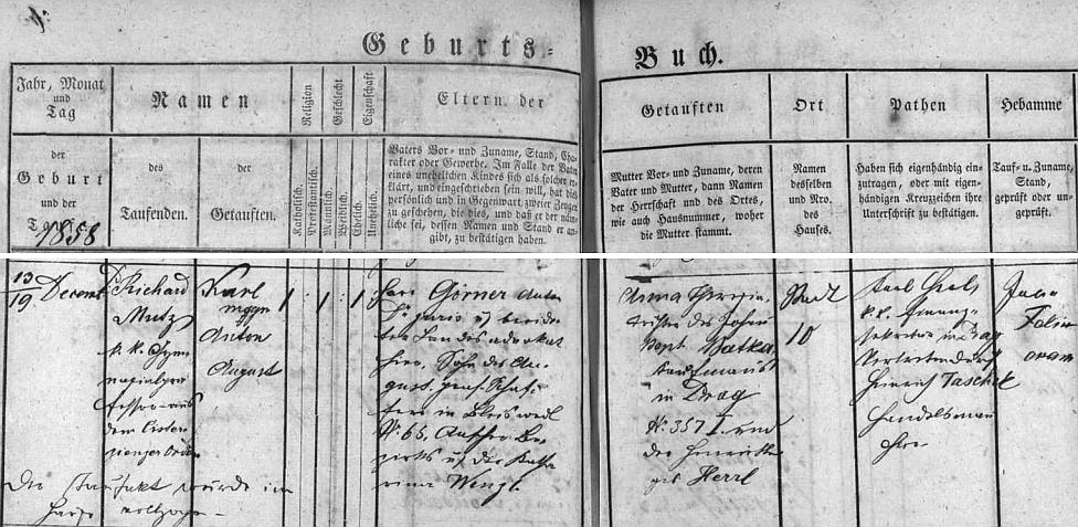 Záznam v českobudějovické matrice narození a šest dnů nato i křtu Karla Antona Augusta Görnera, provedeném gymnaziálním profesorem a cisterciáckým řádovým knězem Richardem Mutzem výjimečně u Görnerových doma (město čp. 10), tj. v rodině advokáta JUDr. Antona Görnera (jeho otec August Görner byl krejčím z Blíževedel, tehdejší okr. Úštěk, matka Katharina byla roz. Wenzlová) a jeho ženy Anny Theresie, roz. Batkové, dcery pražského obchodníka Johanna Baptista (Jana Křtitele) Batky a jeho manželky Franzisky