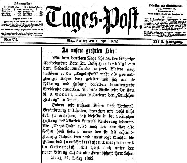 """Titulní list lineckého listu """"Tages-Post"""", oznamující jeho nástup do funkce šéfredaktora"""