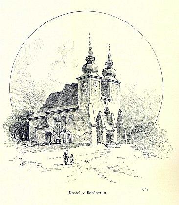 """""""Kostel v Ronšperku"""" na ilustraci Karla Liebschera z Ottovy ediční řady Čechy"""