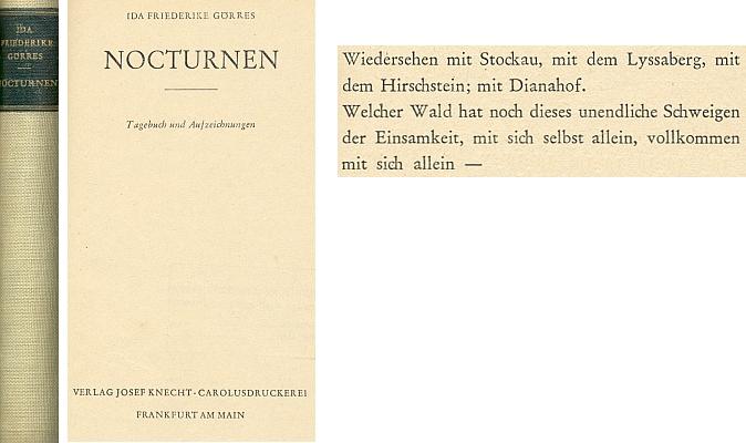 Vazba a titulní list (1949) jejího válečného deníku vydaného ve Frankfurtu nad Mohanem nakladatelstvím Josef Knecht a začátek kapitoly o znovusetkání s Pivoní (s. 23)