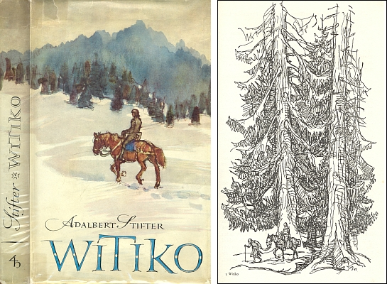 Obálka (1956) a jedna z ilustrací Willyho Widmanna k dalšímu vydání (Verlag Herder ve Freiburgu) zkrácené verze Stifterova Vítka s její předmluvou