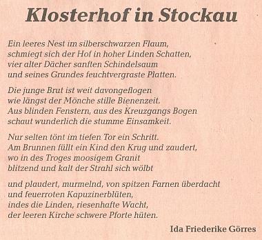 Její báseň o klášteře v Pivoni, jak vyšla na stránkách přílohy ústředního krajanského listu, věnované tomuto tématu