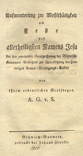 Titulní list (1816) jeho německého spisku