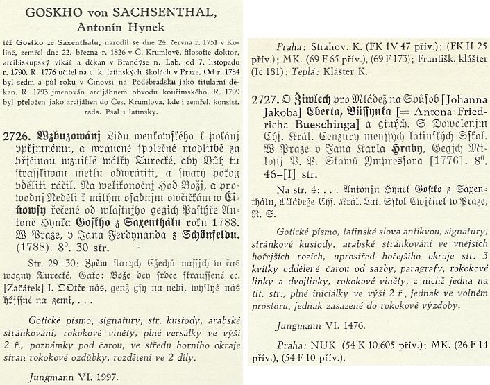 Anotace jeho dvou česky vydaných titulů v Tobolkově Knihopise