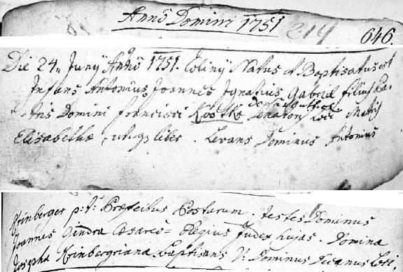 """Záznam kolínské křestní matriky o jeho narození otci Františkovi, psanému ještě příjmením Kostko (s přípisem """"de Sachsenthal""""), a matce Alžbětě"""