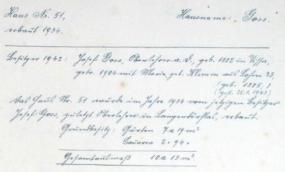 Tady zachytil na stránkách kroniky obce Lom u Tachova (Lohm), kterou za druhé světové války vedl, data vlastní, jakož i své ženy Marie, roz.Klammerové, kterou si bral v roce 1904 a která pocházela z Lomu, kde si v roce 1934 postavili domek