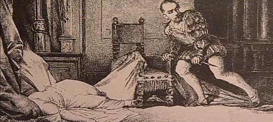 Brutální vražda Markéty Pichlerové Juliem d'Austria na kresbě Adolfa Liebschera