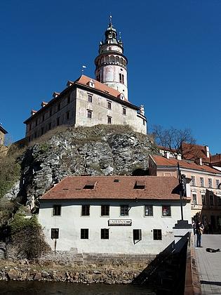 Lazebnický dům v Českém Krumlově pod zámeckou věží
