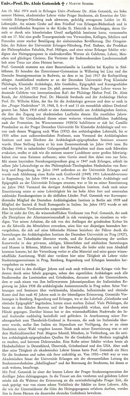 Nekrolog Martina Sicherla (1914-2009), rodáka z Miřejovic, okr.Litoměřice, na stránkách krajanského čtvrtletníku