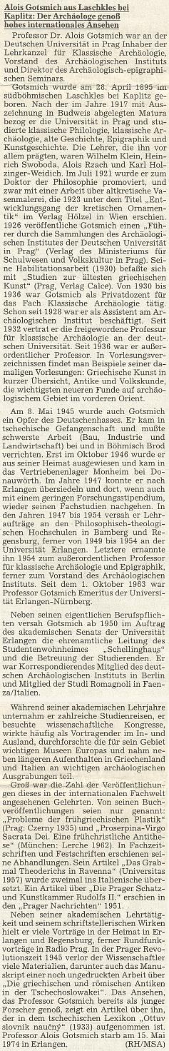 Medailon s jeho životopisem z materiálů Sudetoněmeckého archivu na stránkách krajanského listu