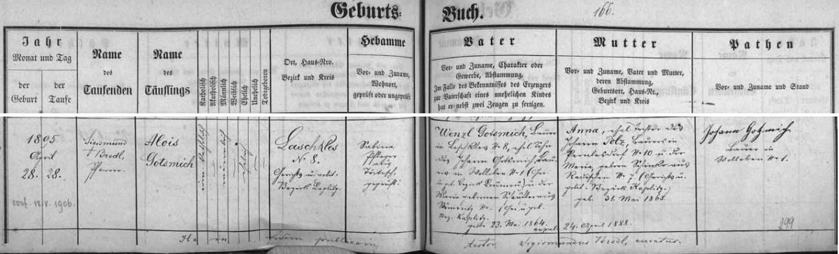 Záznam omlenické křestní matriky o jeho narození v Blažkově čp. 8