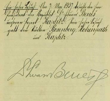 Podpis prezidenta Beneše v jenínské obecní kronice, kterou Johann Chromy vedl