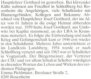 Nekrolog jeho syna, pochovaného veSchlossbergu u Rosenheimu