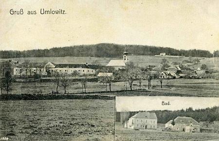 Omlenička se zámkem dosud stojícím a hřbitov nad osadou, kde je pan učitel pochován