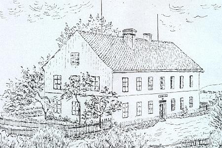 Kresba při jeho článku, zachycující obecnou školu v Jeníně