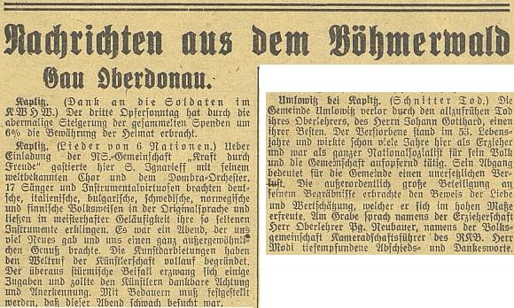 Zpráva o jeho úmrtí na stránkách budějovického německého listu