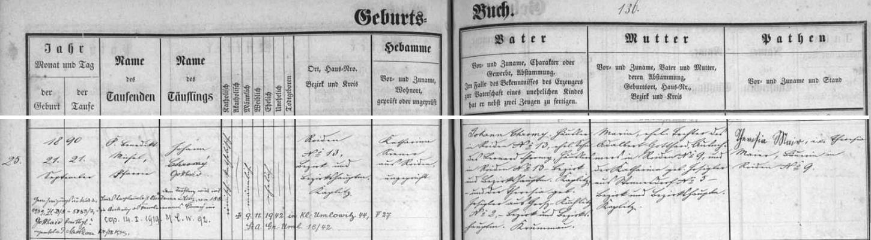 Záznam omlenické křestní matriky o jeho narozenní Johannu Chromymu a jeho ženě Marii, roz. Gotthardové, provázený přípisem o změně příjmení a také o úmrtí Gotthardově