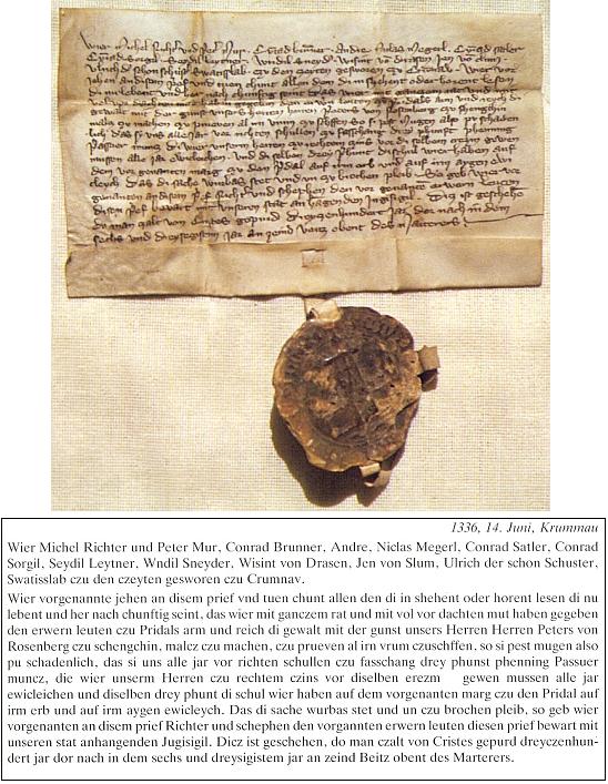 Listina českokrumlovské městské rady s nejstarší známou pečetí města nese datum 14. června 1336     a dovoluje se v ní se souhlasem Petra I. z Rožmberka městečku Přídolí vařit a čepovat pivo