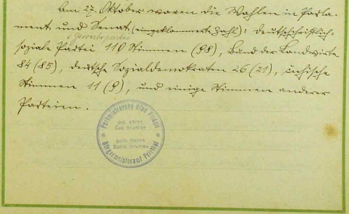 """Stránka pamětní knihy """"obce Přídolí"""" s výsledky voleb v roce 1929 a razítkem zdejšího """"purkmistrovského úřadu"""""""