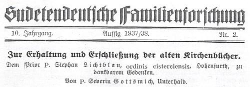 Záhlaví časopisu s titulem jeho článku a věnováním vyšebrodskému převoru Lichtblauovi